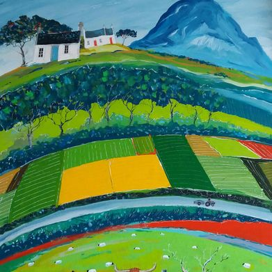 Painting of a countryside done by J Wetten Brown