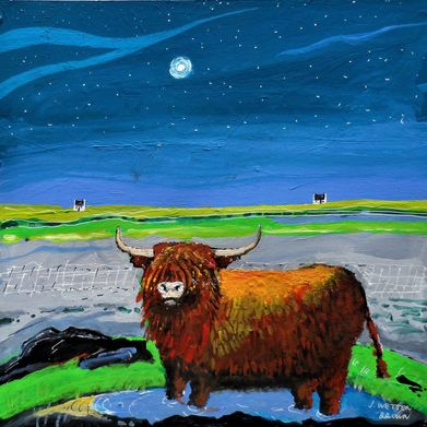cow painted with a night landscape by J Wetten Brown