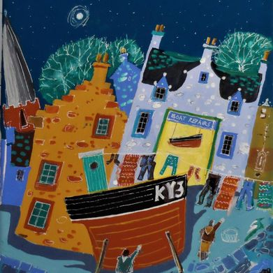 fishing village at night painted by J Wetten Brown